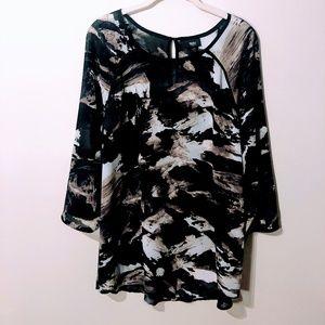 Mossimo Plus Size Black Print Blouse XXL